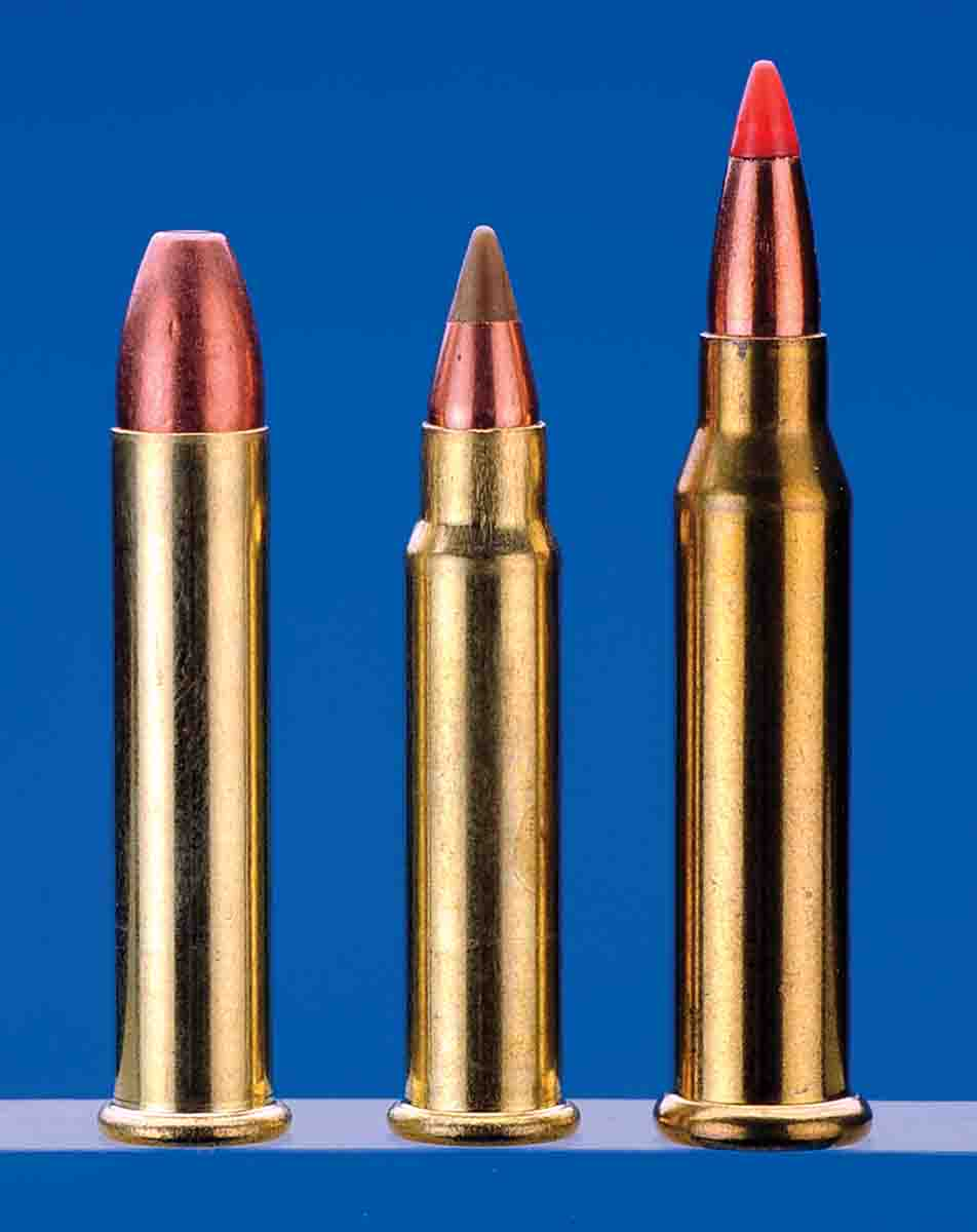 Rimfire cartridges include (left to right): the .22 Winchester Magnum Rimfire, .17 Hornady Magnum Rimfire and .17 Winchester Super Magnum.