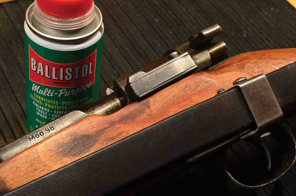 Only slightly younger than the Mauser K98, Ballistol was intended to be a cleaner and preservative for all the 98's parts – steel, wood and leather.