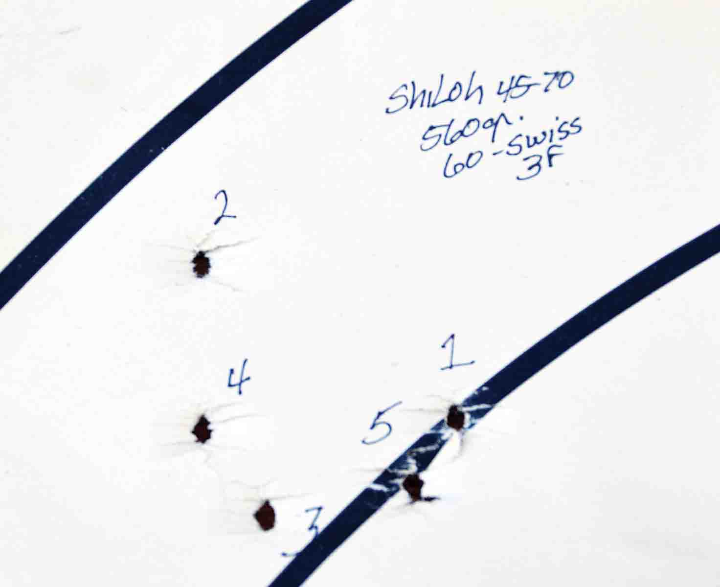 The first three shots revealed the parameters of this group while the last two fell within, or at least near, those limits. This group measures 2.5 inches and was fired at 200 yards.