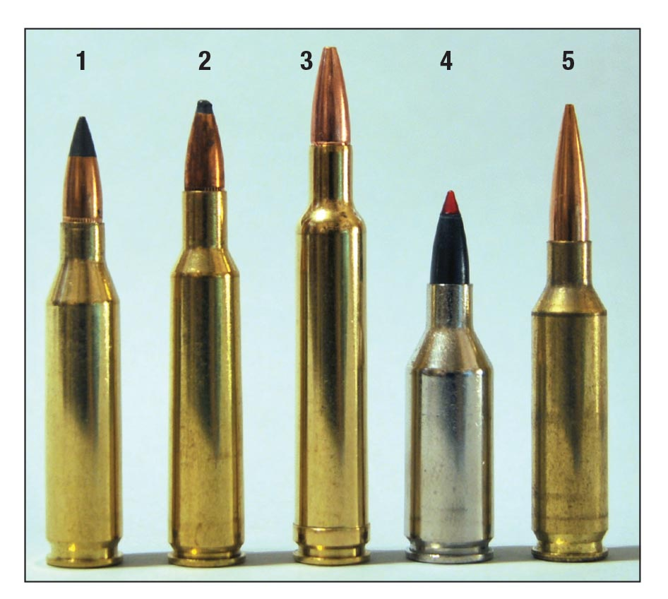 Current 6mms include the (1) .243 Winchester with a 95-grain Winchester Extreme Point, (2) 6mm Remington with a 100-grain SP, (3) .240 Weatherby Magnum with an 85-grain Barnes TSX, (4) the more-or-less defunct .243 Winchester Super Short Magnum with a 95-grain XP3 and the (5) 6mm Creedmoor with a 105-grain Berger Open Tip Match bullet.