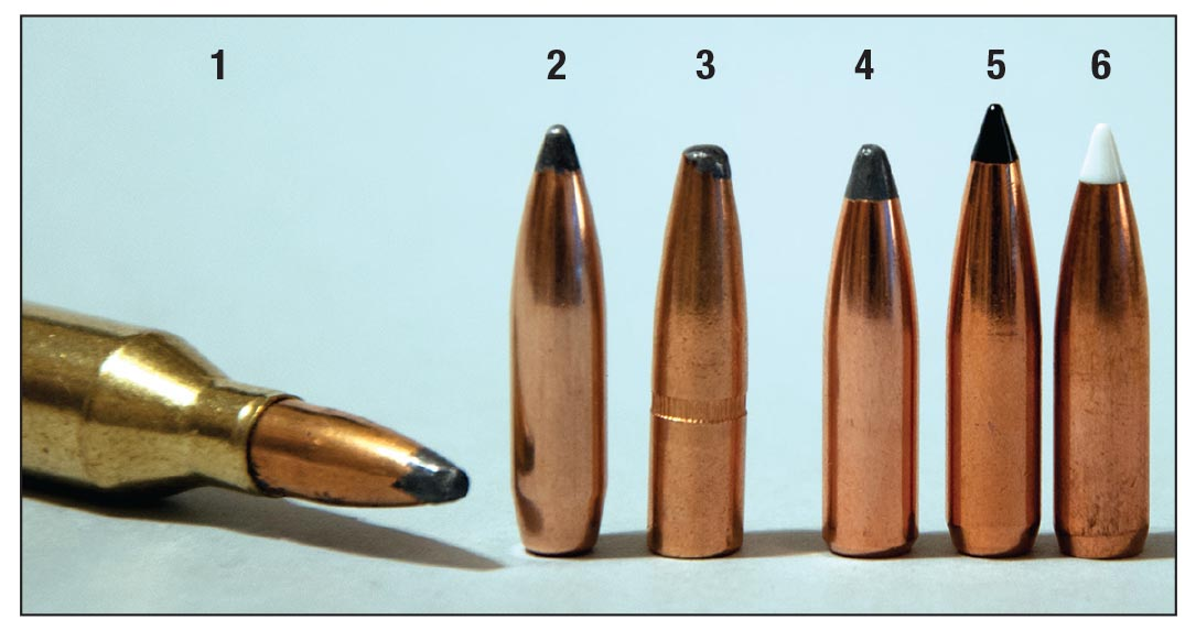 The cup-and-core (1) Winchester 100-grain Power-Point, (2) Sierra 100-grain Game King and the (3) Remington 100-grain Core-Lokt are good traditional bullets for the .243 Winchester. Bullets that generally penetrate more deeply include the (4) Nosler 95-grain Partition, (5) Swift 90-grain Scirocco II and the (6) Nosler 90-grain AccuBond.