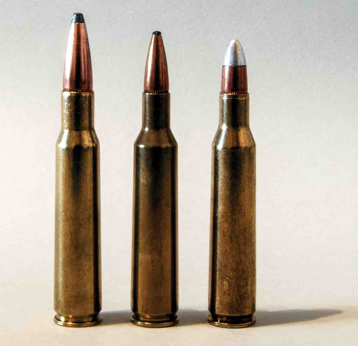 The 7x57 Mauser (left) was the base case for the 6mm Remington (center) and the .257 Roberts (right). The 7x57 will handle a broader range of bullet weights.