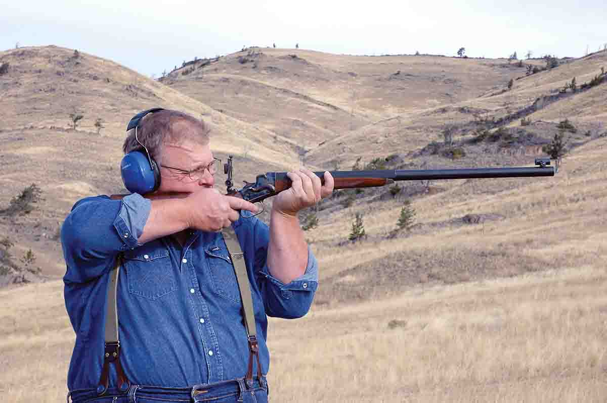 "Mike is shooting a replica Remington No. 4 ""Hepburn"" by DZ Arms of Oklahoma City."