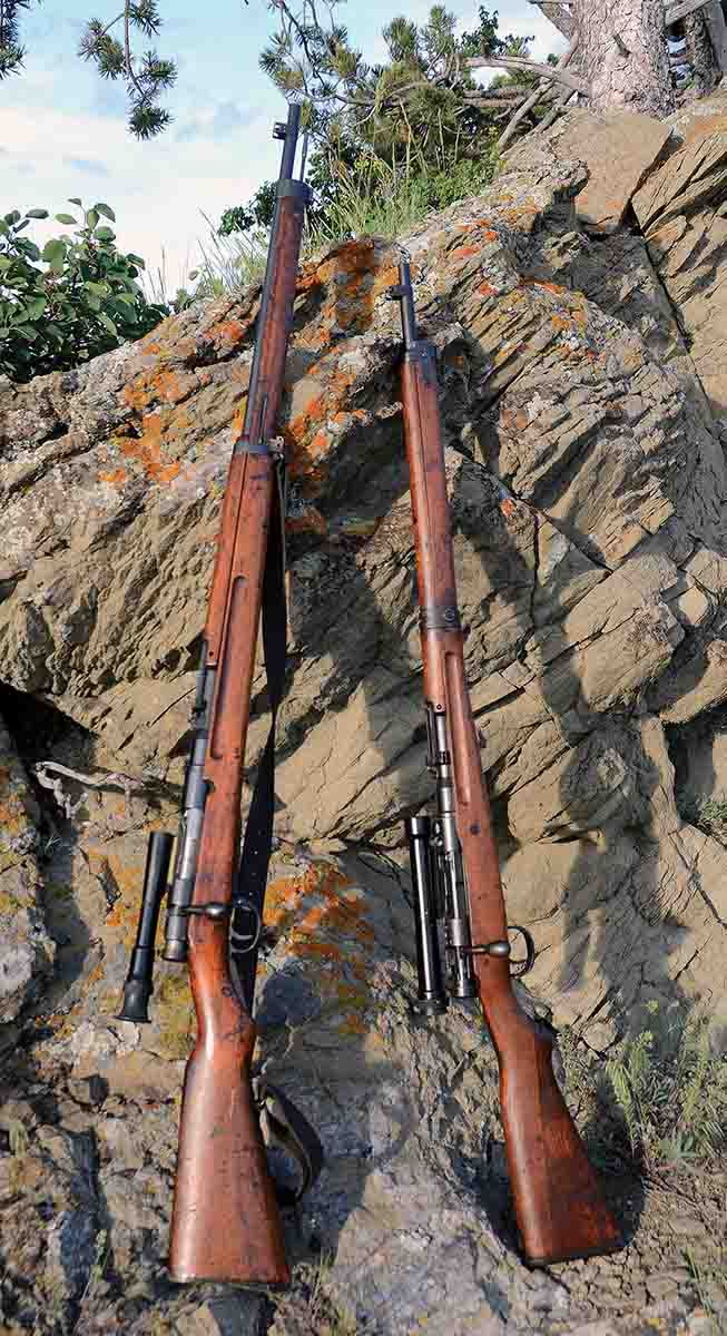 At left is an Imperial Japanese Army Type 97 6.5mm sniper rifle. At right is a Type 99 7.7mm sniper rifle.