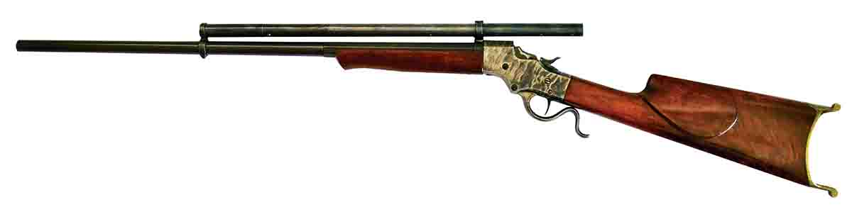 This Stevens Model 45 (possibly) is built on the No. 44 action and chambered in .25-21. Everything else about it, including the scope manufacturer, is a mystery.