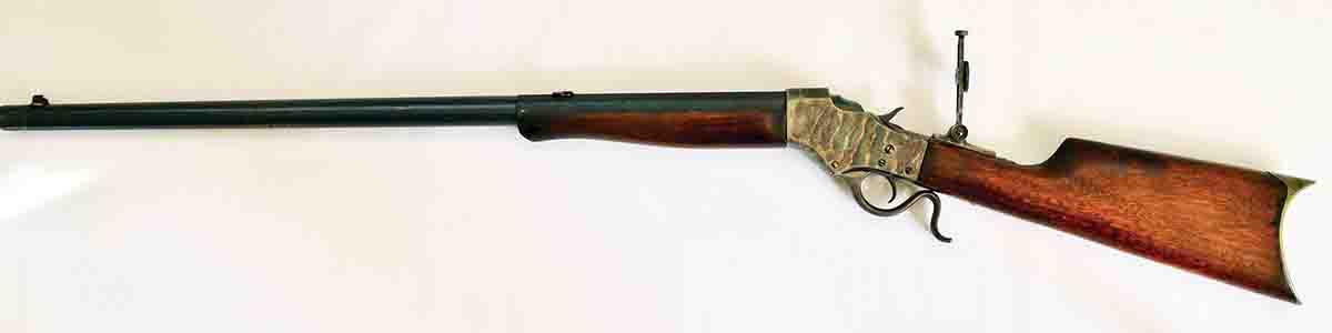 A Stevens Model 45 built on a No. 44½ action and chambered in .22-15-60. Both the chambering and crescent buttplate were special order.