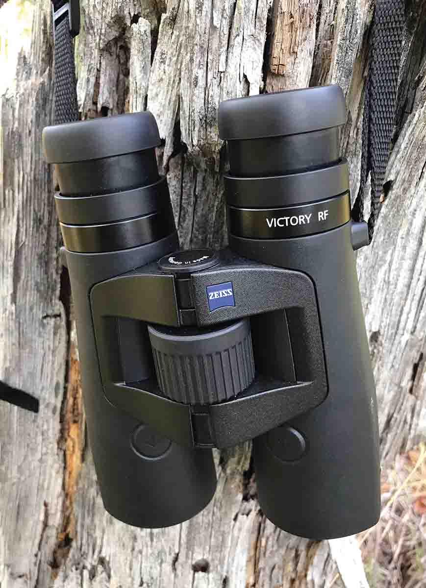 The Zeiss Victory RF 10x42mm rangefinding binocular features excellent optics and a ballistic program that can be customized for about any cartridge.