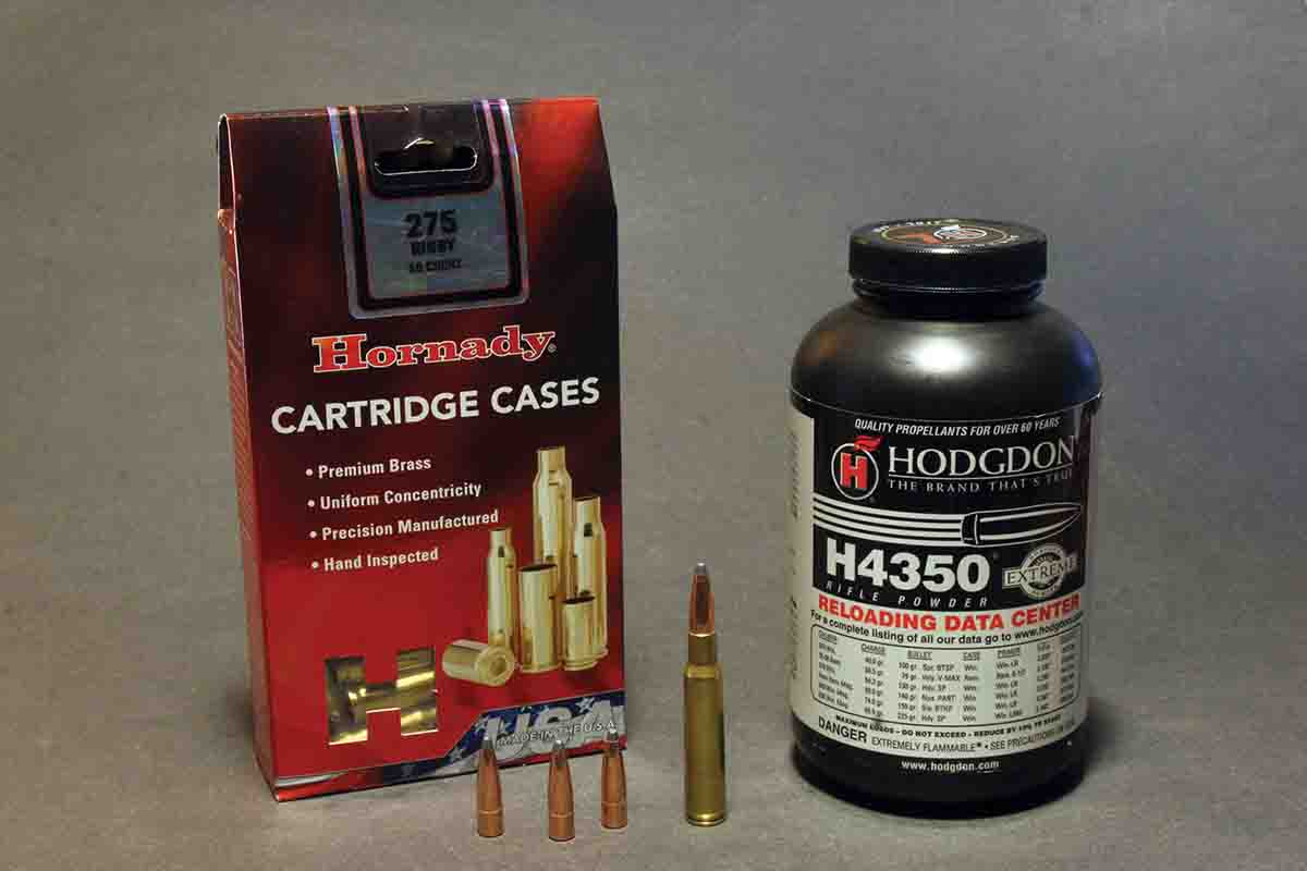 Hornady's 140-grain factory load ballistics were reproduced with 139-grain Spire Points and 47.0 grains of H-4350 with CCI 200 primers. The bullets were seated just behind the front edge of the cannelure for an overall length of 3.180 inches and an average velocity of 2,681 fps.