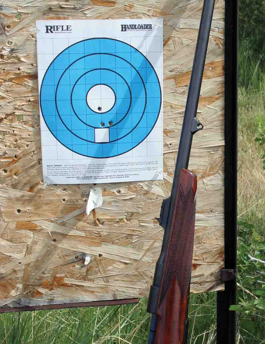 The average three-shot group at 100 yards was around 1.5 inches, which is more than adequate when using open sights for big game.