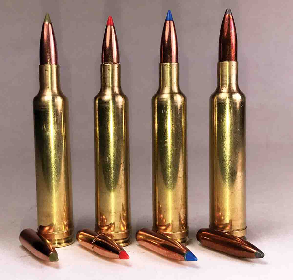 Bullets handloaded for the .257 Weatherby Magnum include (left to right): the Nosler 100-grain E-Tip, Hornady 110  InterBond, Nosler 115 Ballistic Tip and the Sierra 117-grain GameKing SBT.
