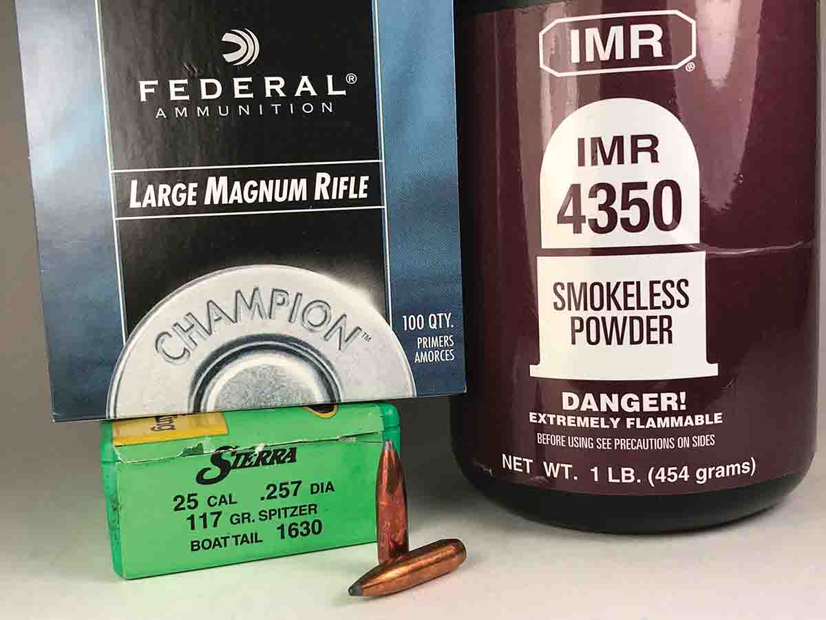 Sierra 117-grain GameKing SBT bullets, IMR-4350 powder and Federal 215 primers made an accurate combination in the Weatherby Mark V Altitude .257 Magnum rifle.