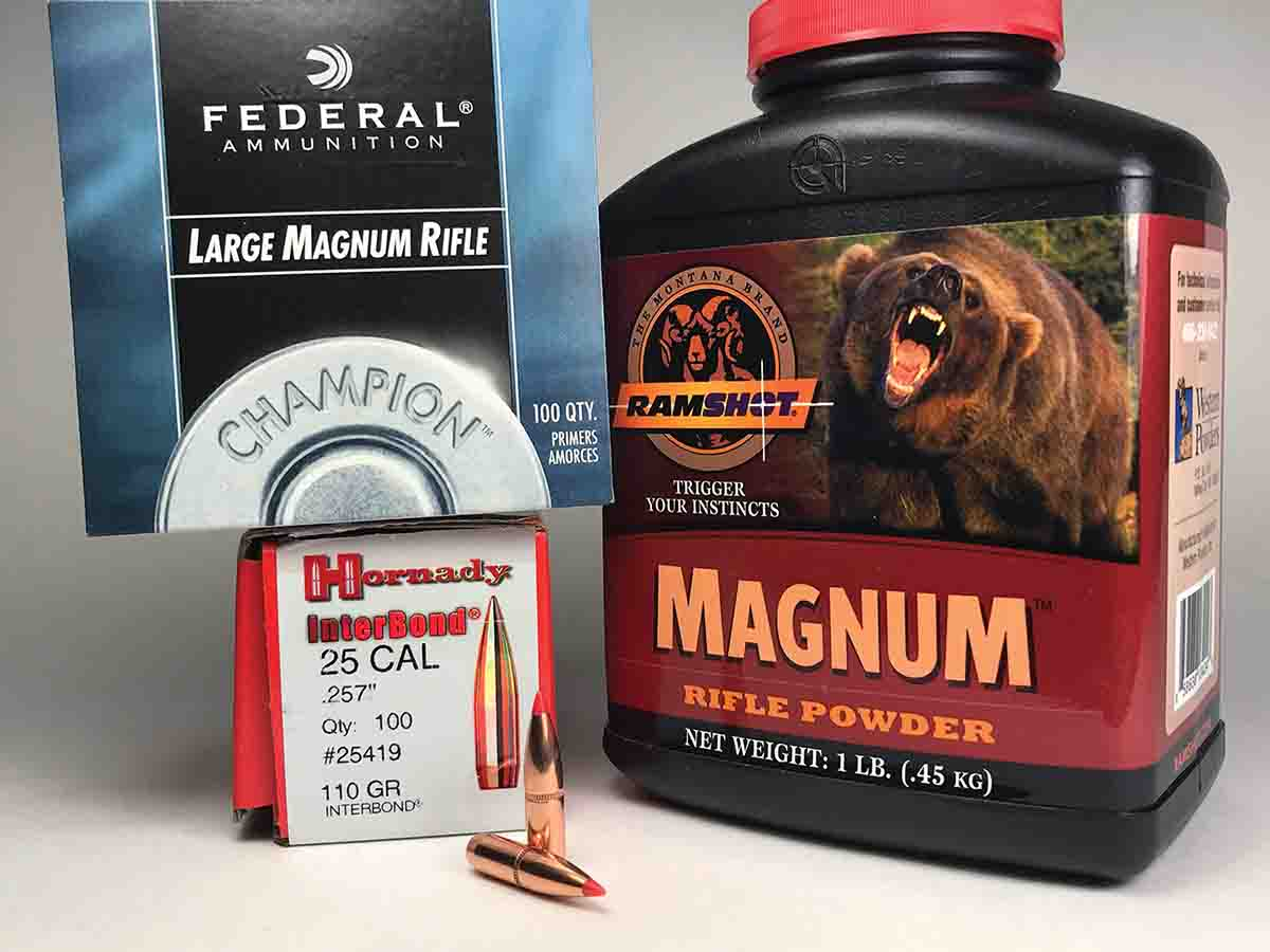 Hornady 110-grain InterBonds, Ramshot Magnum powder and Federal 215 primers were an accurate combination.