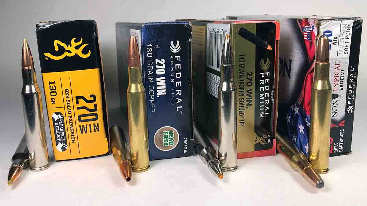 Factory loads shot in the Remington Mountain Rifle SS .270 Winchester included (left to right): Browning 130-grain BXS Solid Expansion, Federal Power-Shok 130 Copper, Federal Premium 140 Trophy Bonded Tip and Federal 150-grain Non-Typical Whitetail.
