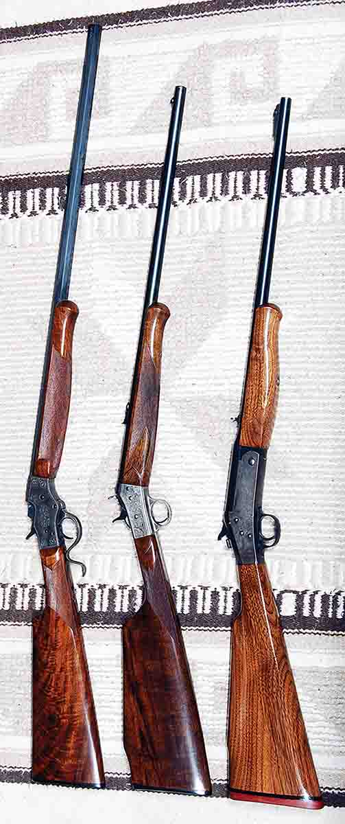 Stevens (left) and Remington Rolling Block (center) rifles show the project H&R (right) to have early 1900s-period styling.