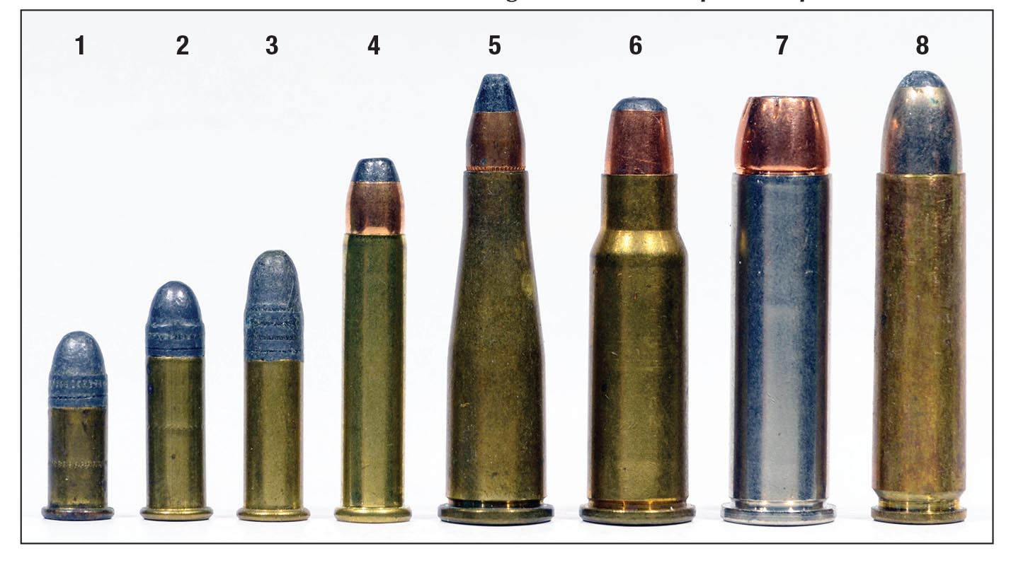Cartridges for which Levermatics were supposed to be chambered include the (1) .22 Short, (2) .22 Long, (3) .22 Long Rifle, (4) .22 WMR, (5) .22 Jet, (6) .256 Winchester Magnum, (7) .357 Magnum and the (8) .30 Carbine. Only one rifle is known to exist in .22 Jet, and the .357 Magnum was never put into production.