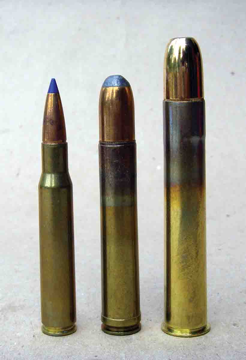 Shown for comparison is the (left to right): .30-06, .458 Winchester Magnum and the .500 Nitro Express (3-inch).