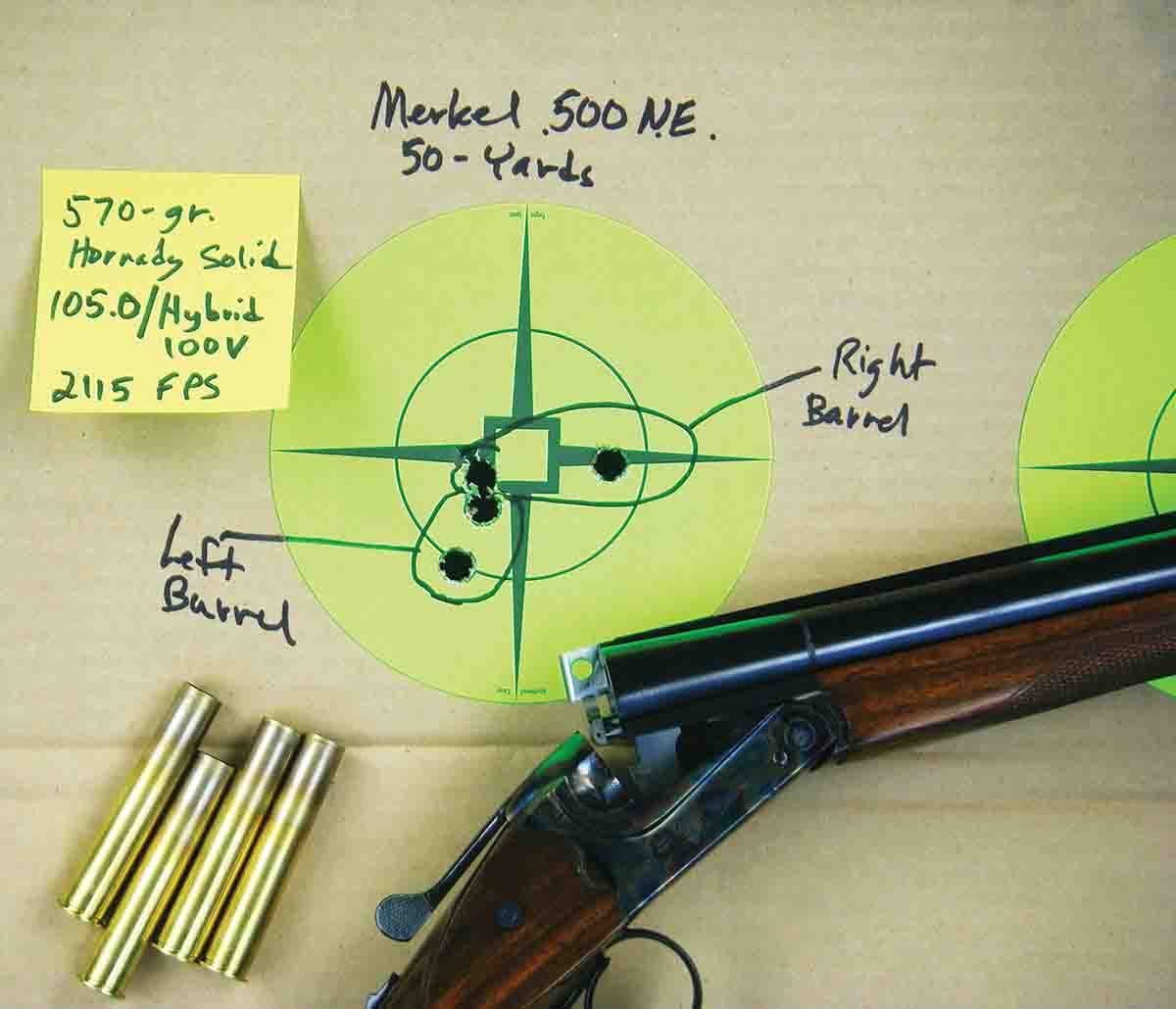 At 50 yards, barrel regulation was close with factory loads and handloads. These two-shot groups were fired offhand.