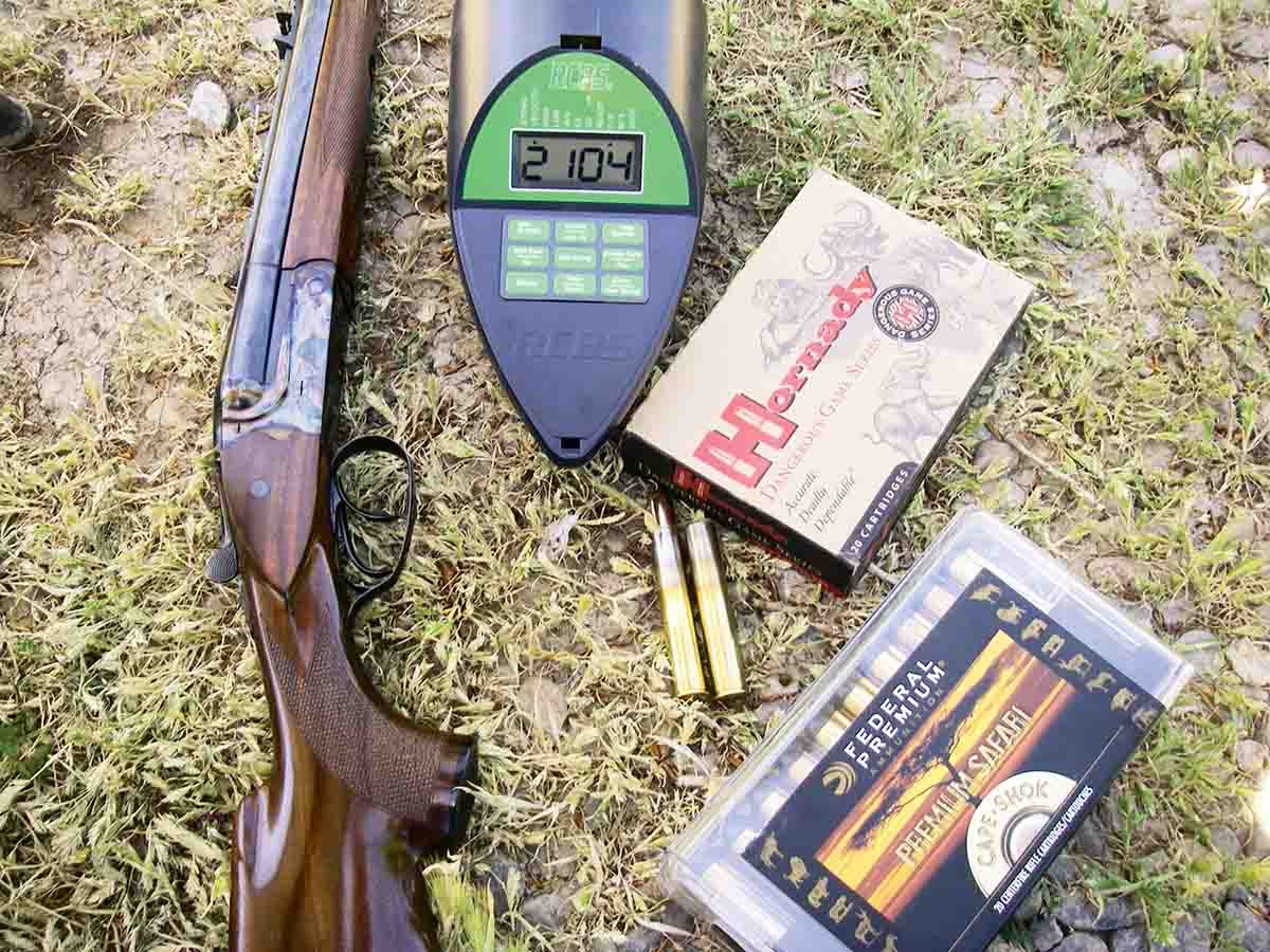 Several .500 Nitro Express factory loads were checked for velocity and accuracy.