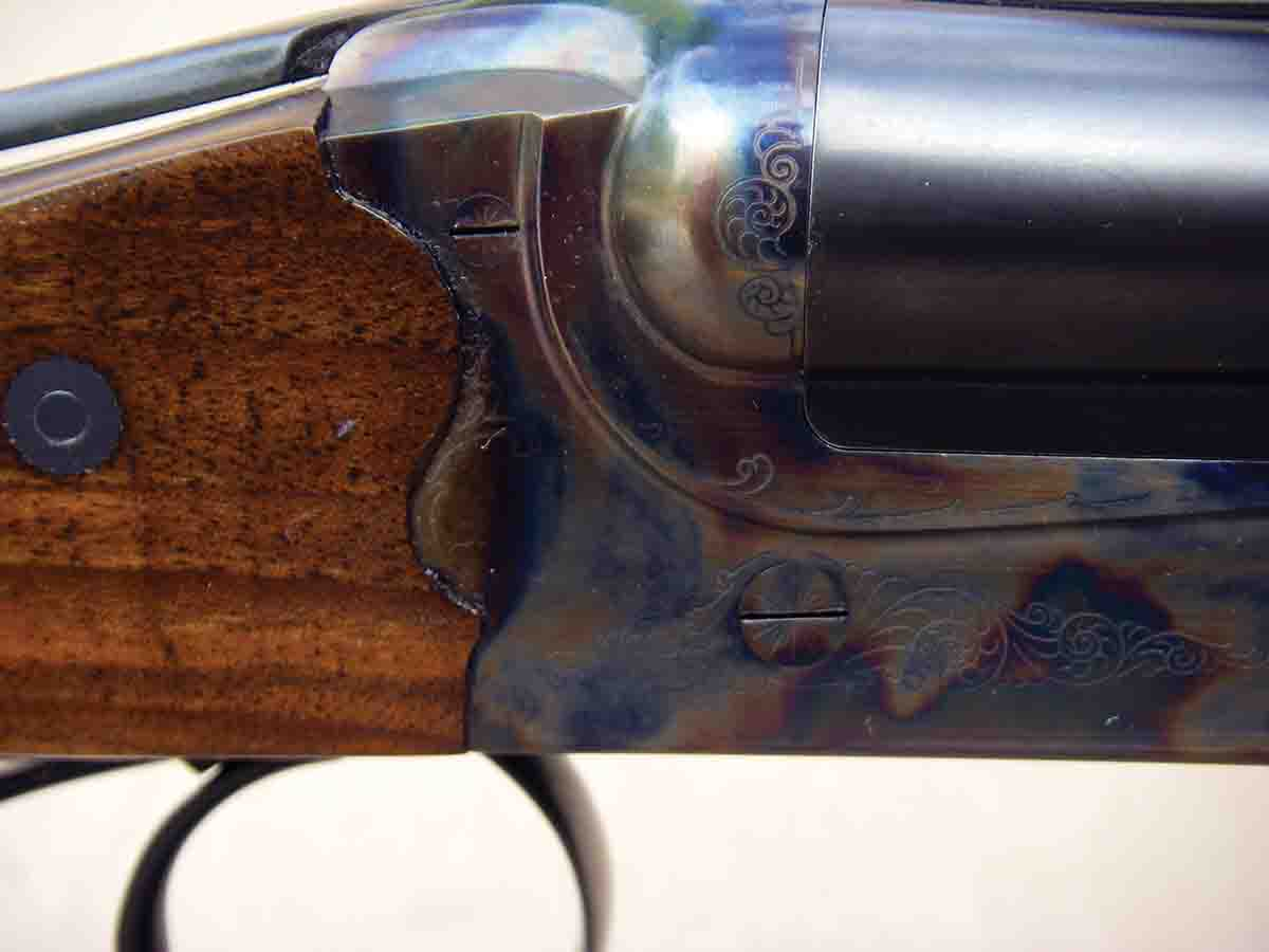 Note the test rifle's firm wood-to-metal fit and rounded contact points, which help prevent stock splitting.