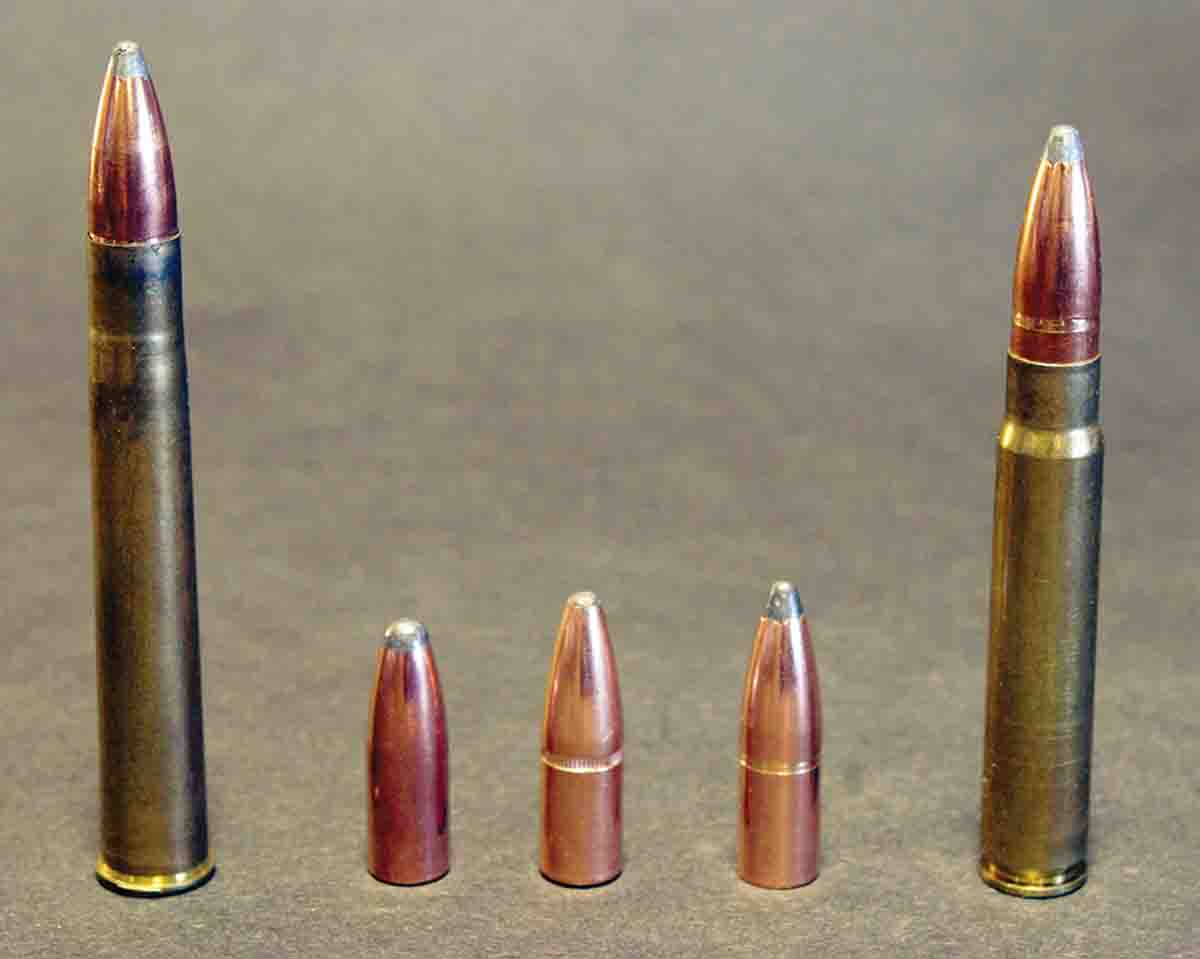The 9.3x74R at left was developed around the turn of the twentieth century and offers the same basic ballistics as the 9.3x62 Mauser at right for break-action guns. John's double regulates well with loads using the (left to right): Speer 270-grain Hot-Cor, Hornady 286 InterLock and the Nosler 286-grain Partition.