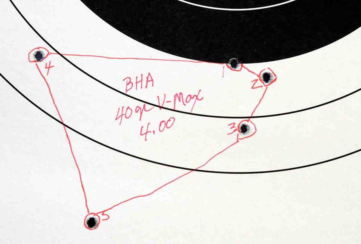 Mike got several decent three- and four-shot groups, but the fourth and fifth shots usually enlarged the group.