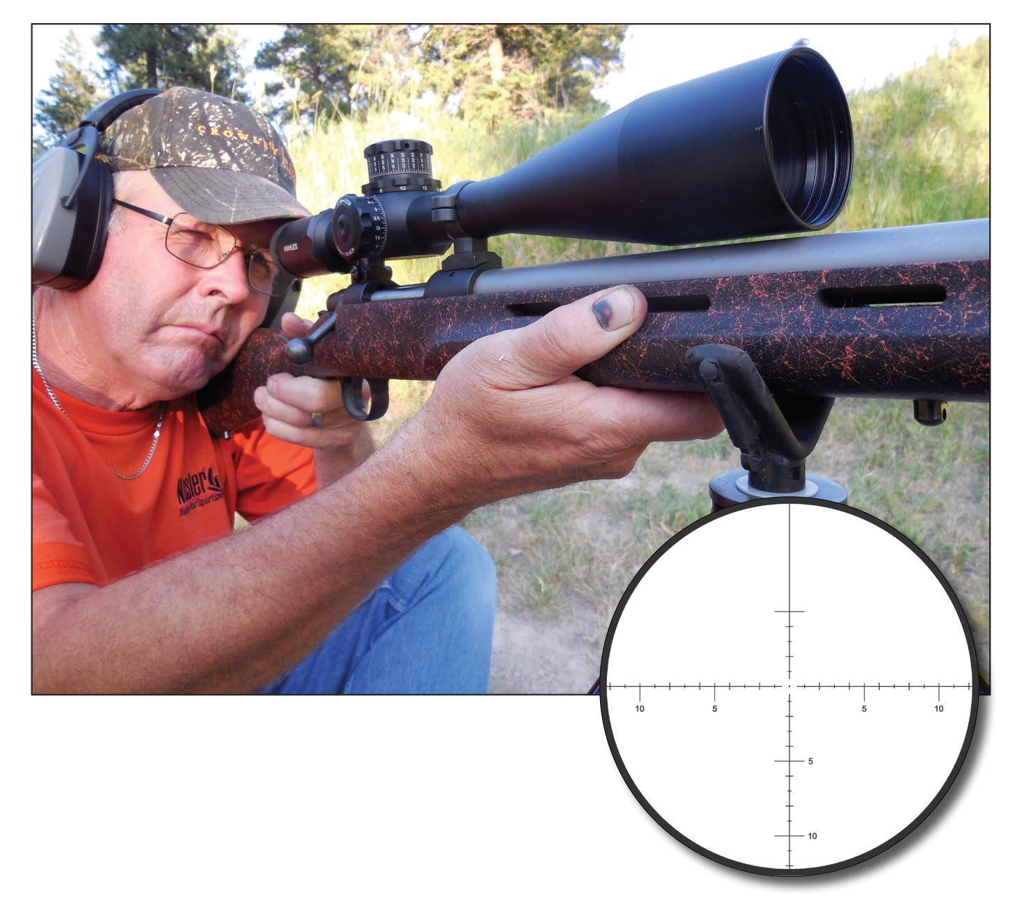 The Kahles K 1050 10-50x 56mm scope includes several features to aid in long-range shooting.