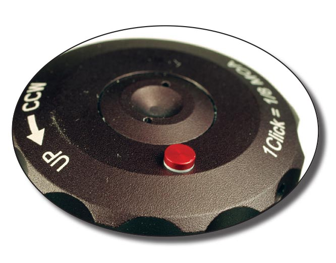 An indicator pin showing red and white indicates the turret is on its third rotation.