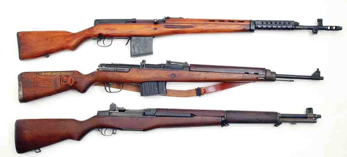 Shown for comparison is the Soviet Union's SVT40 (top), Germany's G/K43 (middle) and the U.S. M1 Garand at bottom.