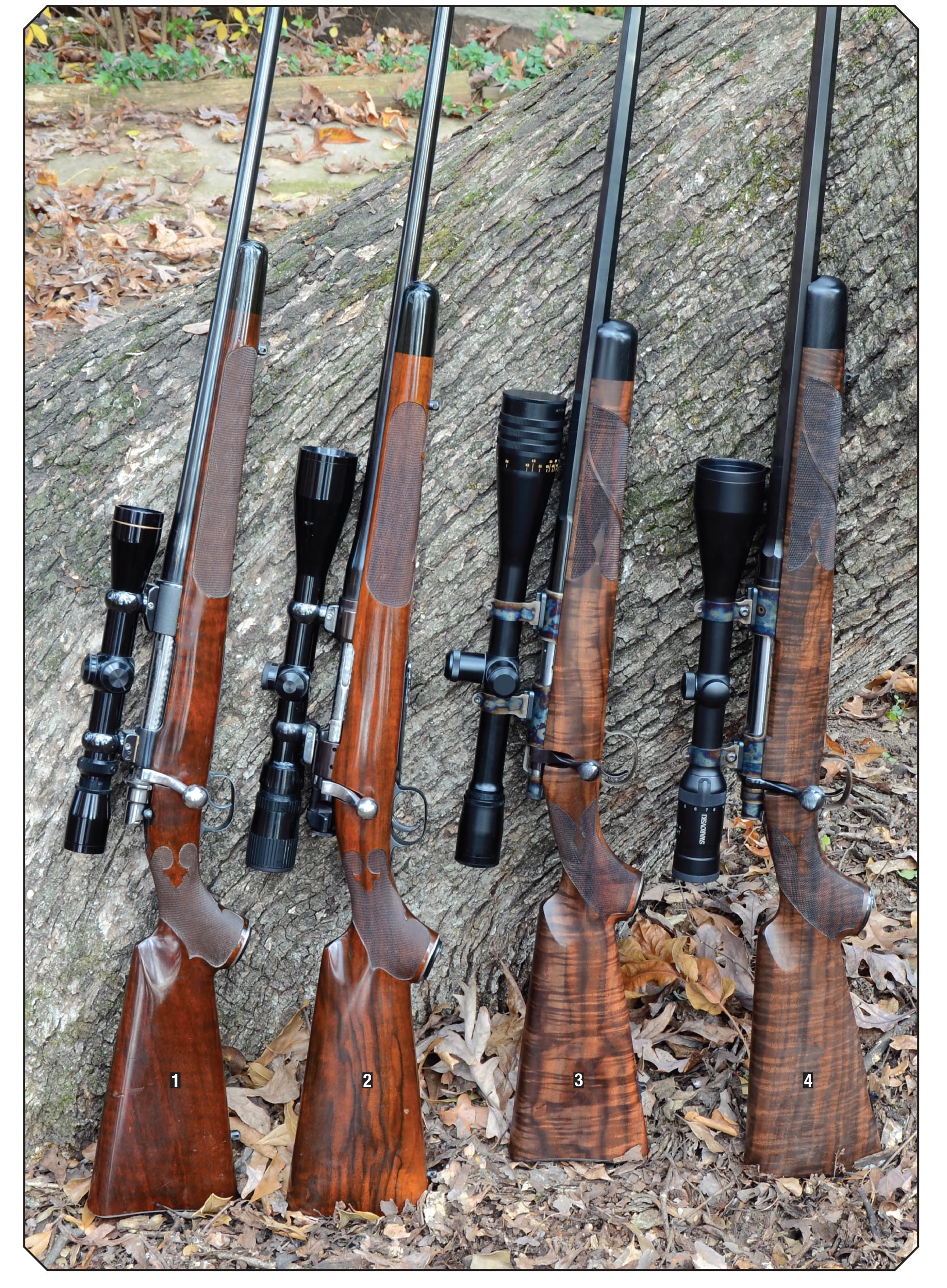 Layne's rifles include a (1) Talley custom '98 Mauser .280 Remington (formerly .25-06), (2) Talley custom 1911 Springfield .22 LR, (3) Cooper Model 57M Western Classic .22 LR and a (4) Cooper Model 52 .25-06.