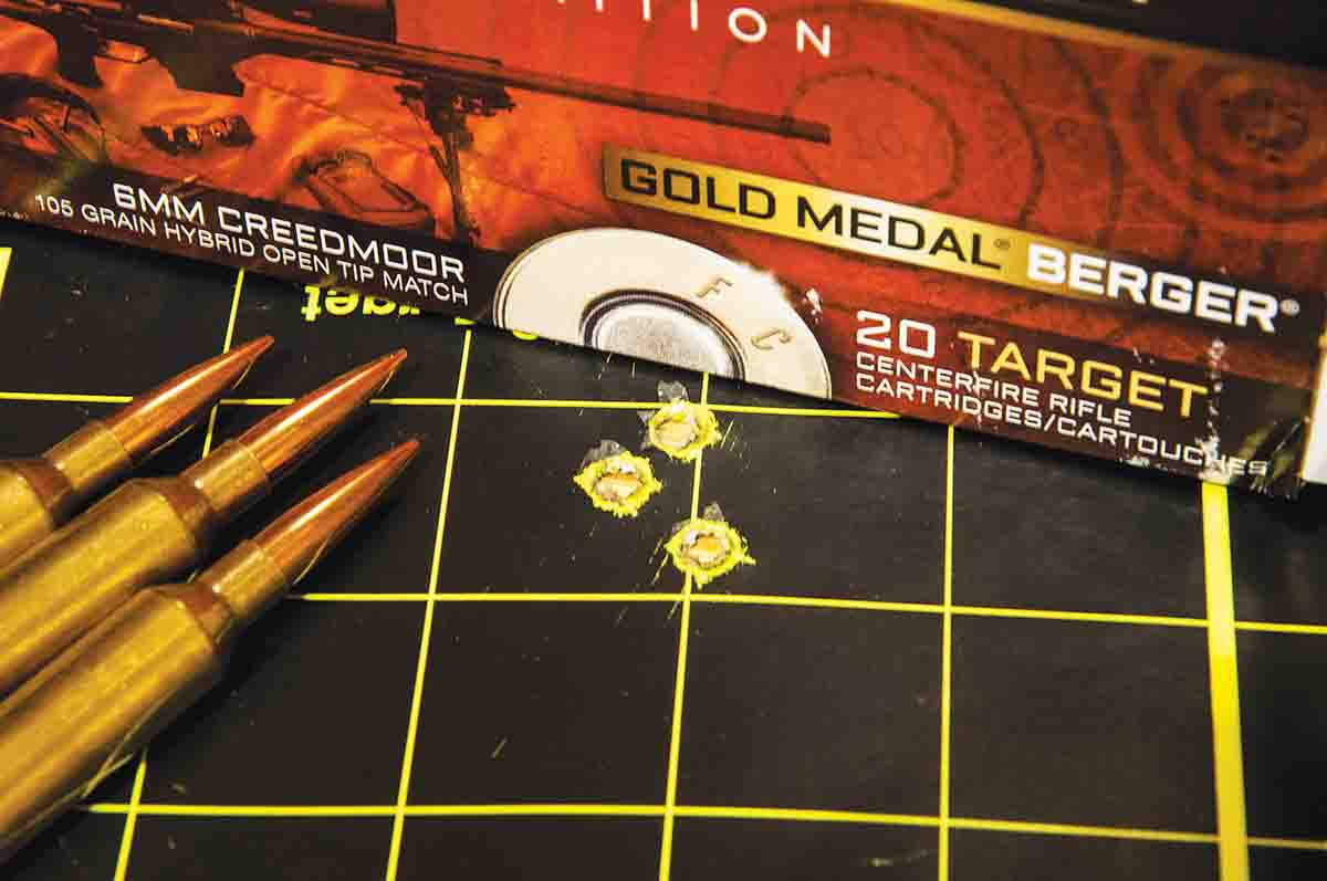 Federal Premium Gold Medal Berger ammunition provided three-shot groups at 100 yards that hovered under an inch. More testing with other loads is warranted.