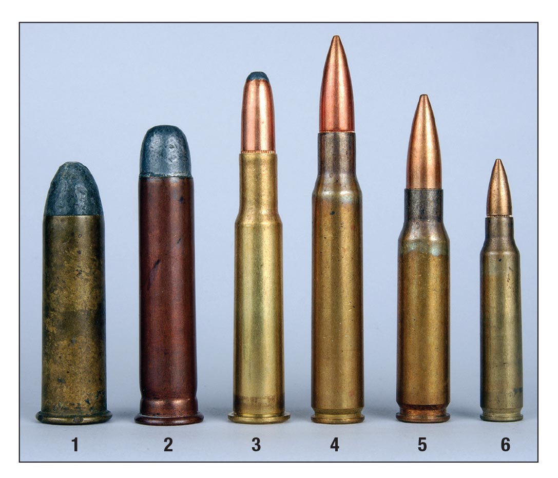 These are the six cartridges for which American infantry rifles have been chambered starting in 1866: (1) .50 Gov't (.50-70), (2) .45 Gov't (.45-70), (3) .30 Army (.30-40 Krag), (4) .30 US (.30-06), (5) 7.62mm NATO and (6) 5.56mm.