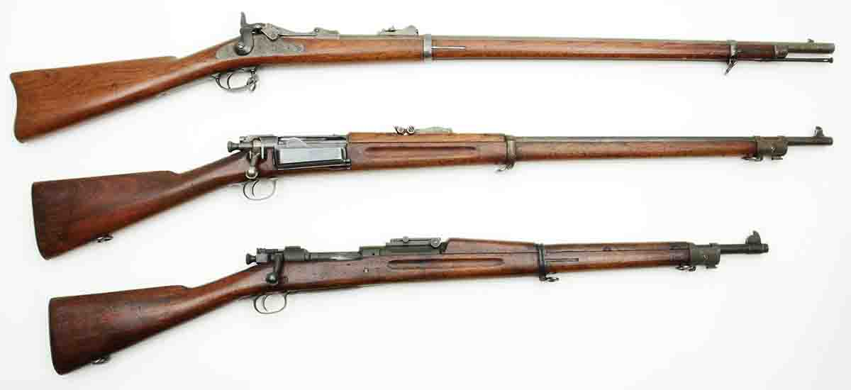 Between 1873 and 1903 American infantry rifles progressed as shown in this photo (top to bottom): a Model 1873 .45 Gov't (.45-70), a Model 1896 .30 Army (.30-40 Krag) and a Model 1903 .30 US (.30-06).