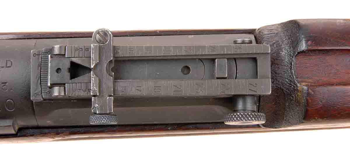 The Model 1903 Springfield had an intricate rear sight adjustable for both windage and elevation.