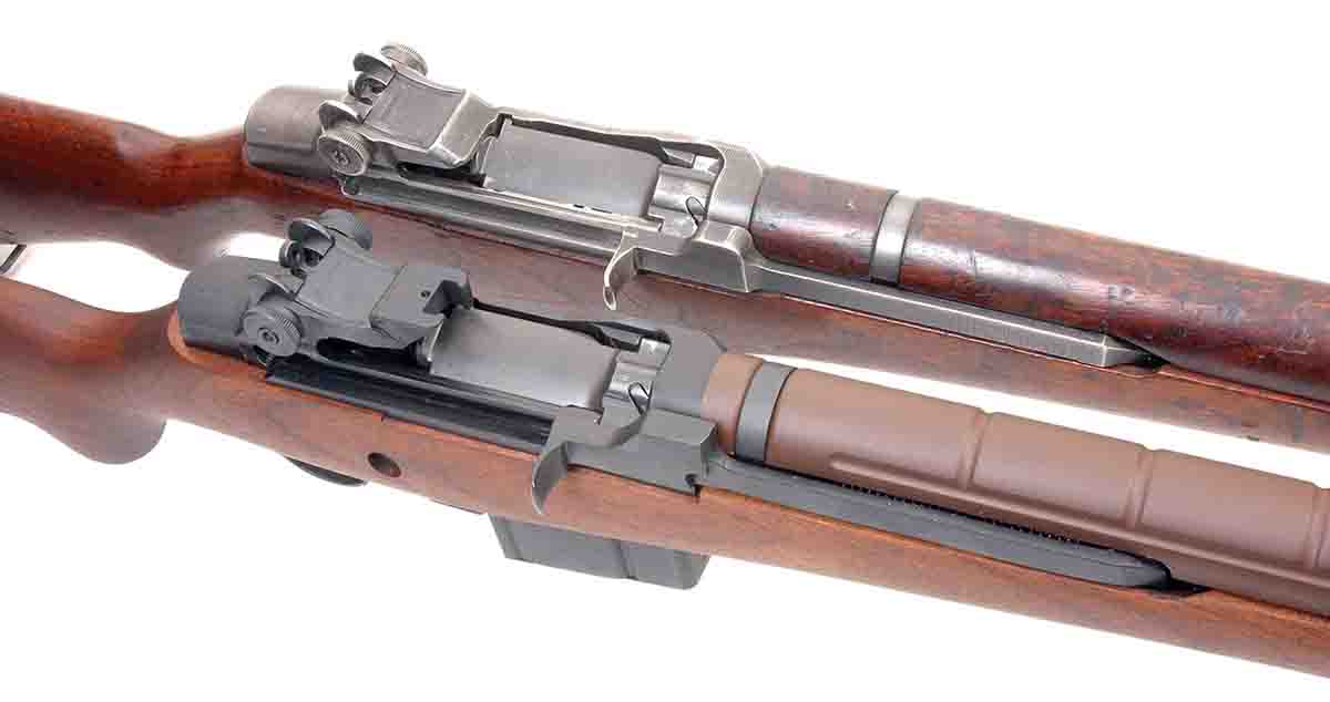 The M14 at bottom (actually this one is a M1A by Springfield Armory) and M1 Garand (top) are closely related in design.