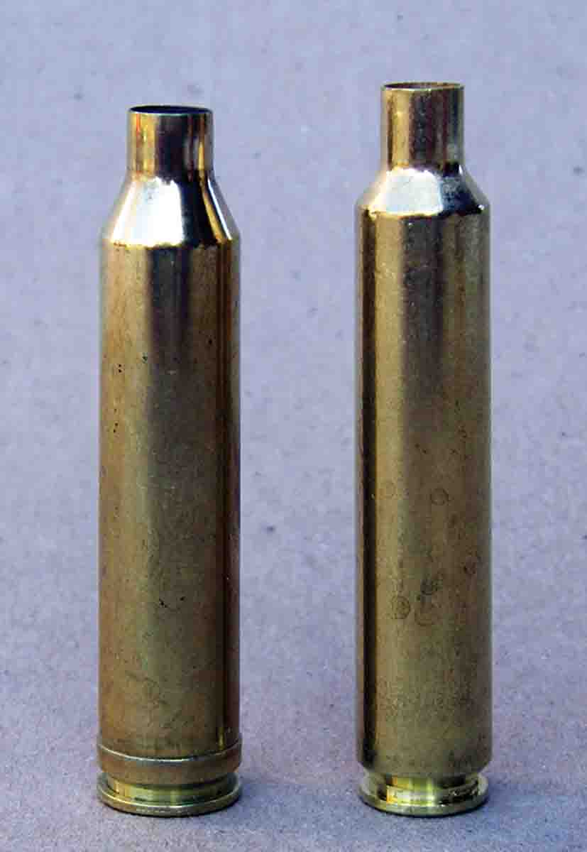 The 6.5 Weatherby RPM case (right) has slightly less powder capacity than the .264 Winchester Magnum (left). Note the 35.25- degree shoulder angle of the 6.5 RPM.