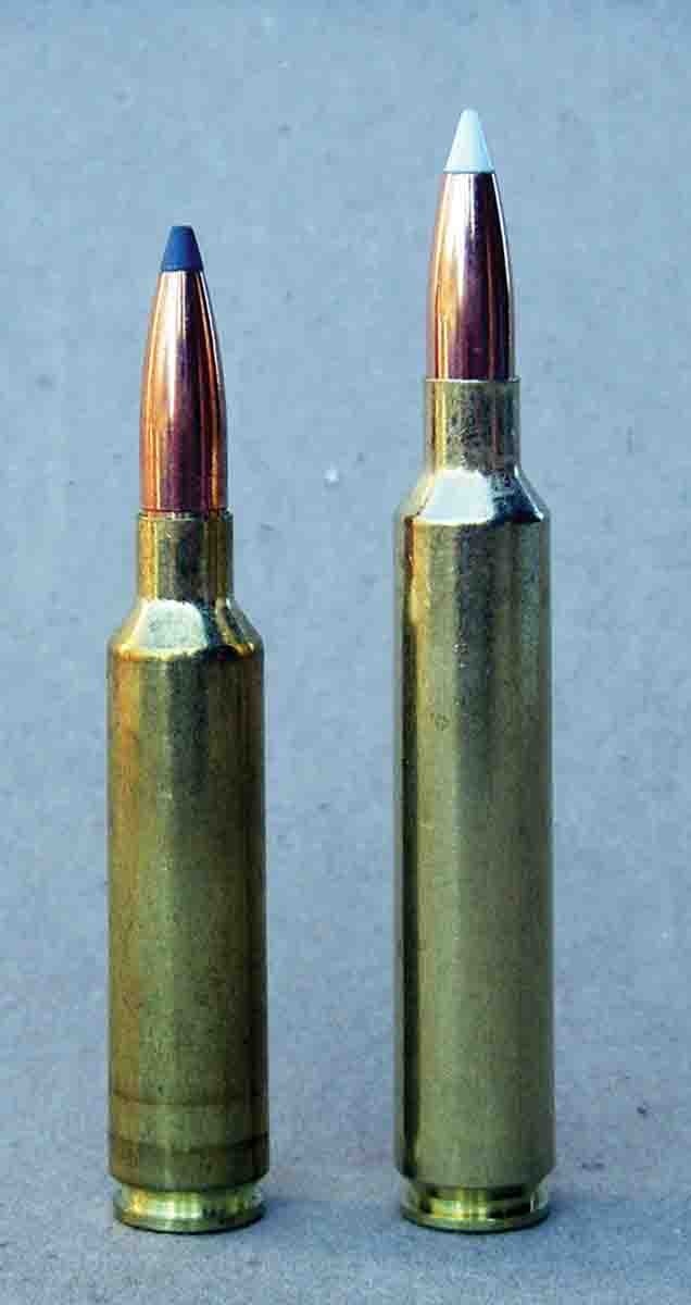 "The 6.5 Weatherby RPM (right) is based on a ""stretched"" 6.5-284 Norma case (left)."