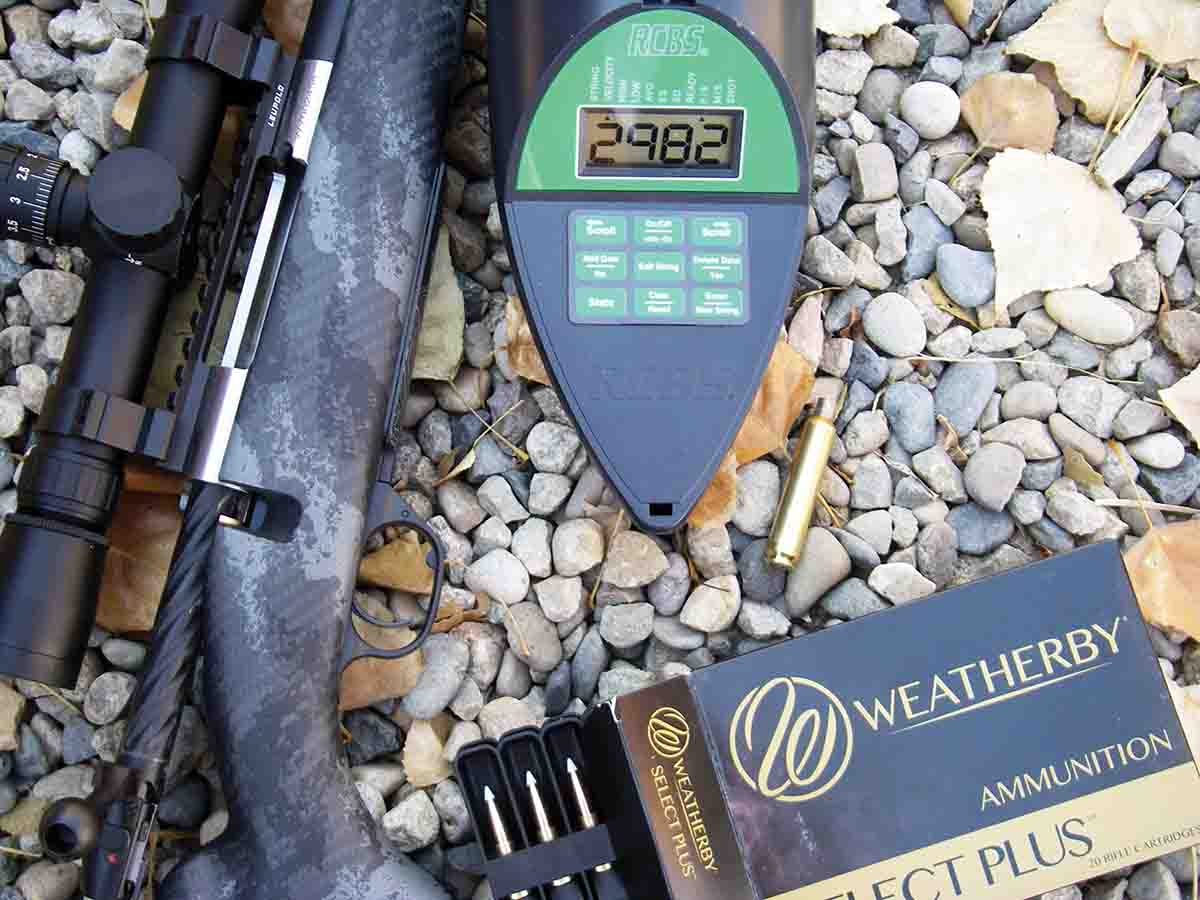 Factory 6.5 Weatherby RPM ammunition chronographed just under 3,000 fps using Nosler 140-grain AccuBond bullets.