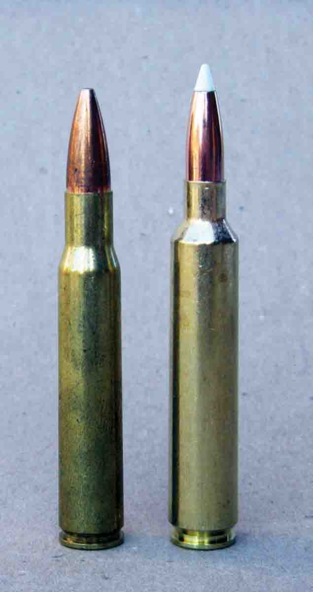 The new 6.5 Weatherby RPM (right) is designed to function in standard .30-06 (left) 3.340-inch actions.