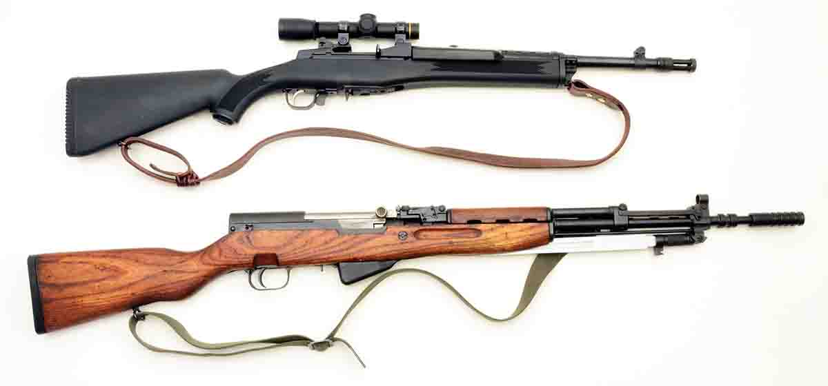 At top is a Ruger Mini Thirty (7.62x39mm) on which Mike has mounted a 3x Leupold scope. The bottom rifle is a Yugoslavian made SKS.
