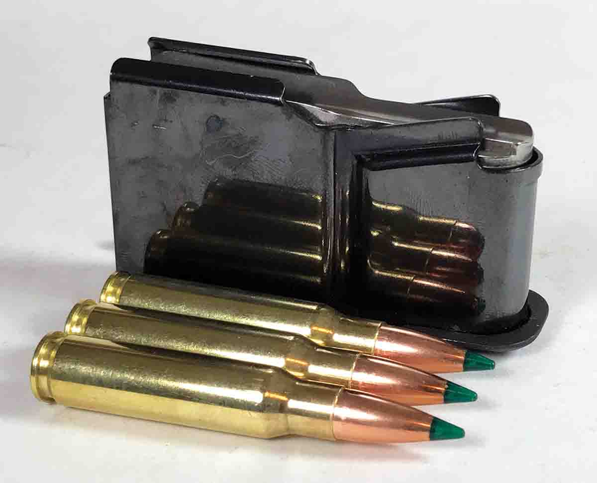 While the Saphire's receiver is aluminum, its magazine is steel and holds three .308 Winchester cartridges.