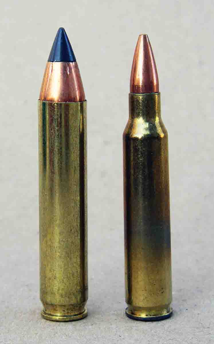 The .350 Legend (left) is based on a .223 Remington case (right), but .350 cases should not be formed from the parent case.
