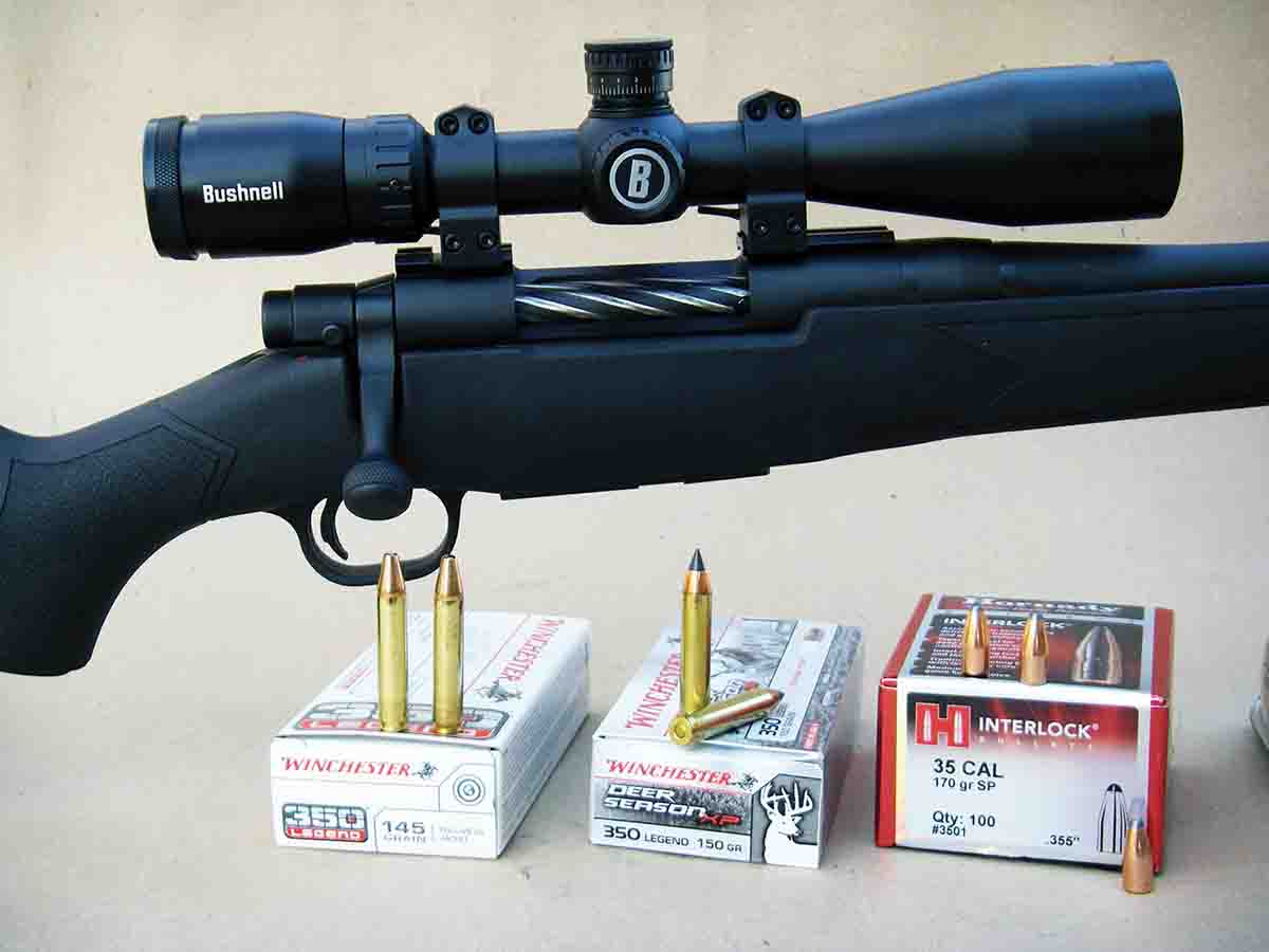 A Mossberg Patriot topped with a Bushnell Prime 3-12x 40mm scope was selected to test Winchester's .350 Legend ammunition.