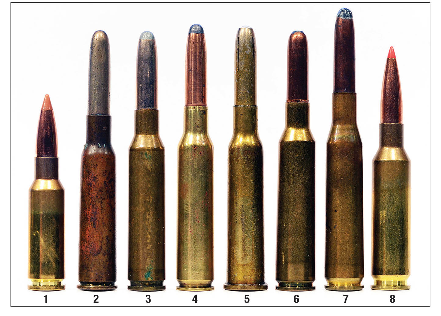 The 6.5mm lineup: (1) 6.5 Grendel, (2) 6.5 Arisaka, (3) 6.5 Carcano, (4) 6.5x54 Mannlicher-Schönauer, (5) 6.5 Dutch, (6) 6.5x55 Swedish, (7) 6.5x58 Mauser, (8) 6.5 Creedmoor. For 120 years, 6.5mm (.26) cartridges have blazed a vivid trail in both military and sporting use.