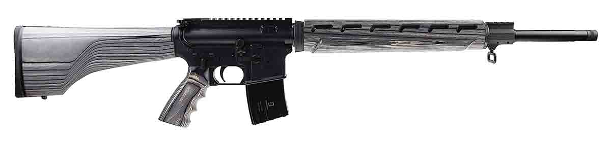 This 6.5 Grendel features a 20-inch barrel and a pepper laminate stock.