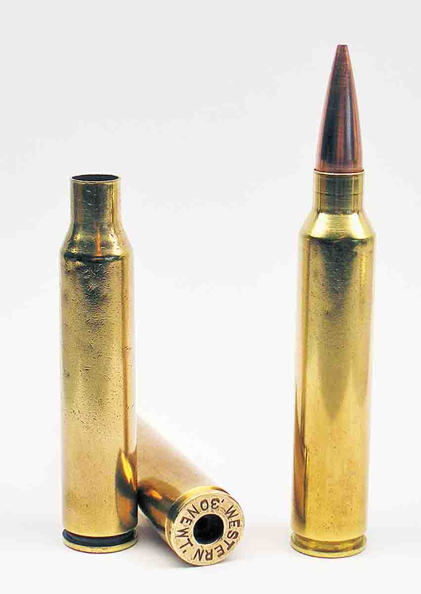 The .30 Newton (circa 1917) is the same basic case as the .375 Ruger, shown here necked down to .30 caliber.