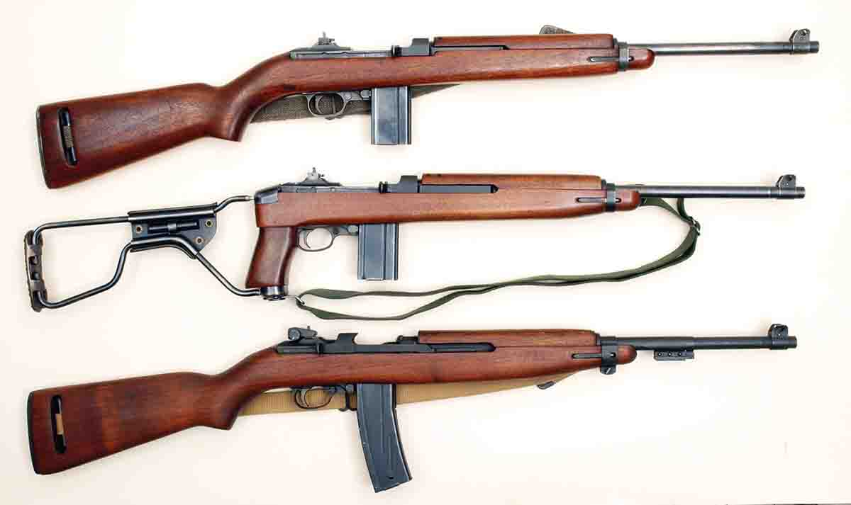 The three basic versions of U.S. .30 Carbines include the M1 (top), M1A1 (middle) and the M2 (bottom).