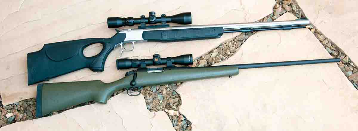 Both the CVA muzzleloader (top) and an early custom Bergara 7mm-08 Remington feature barrels made in Spain.