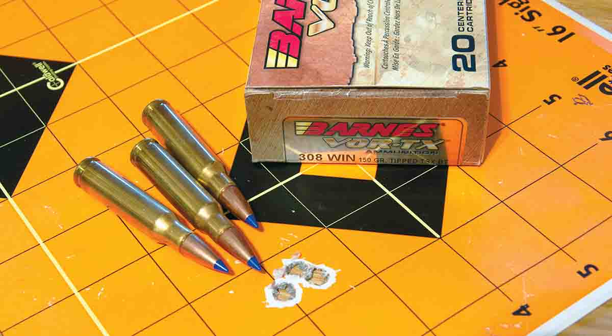 Of the five .308 Winchester loads tested, Barnes 150-grain VOR-TX TTSX ammunition provided the smallest group.