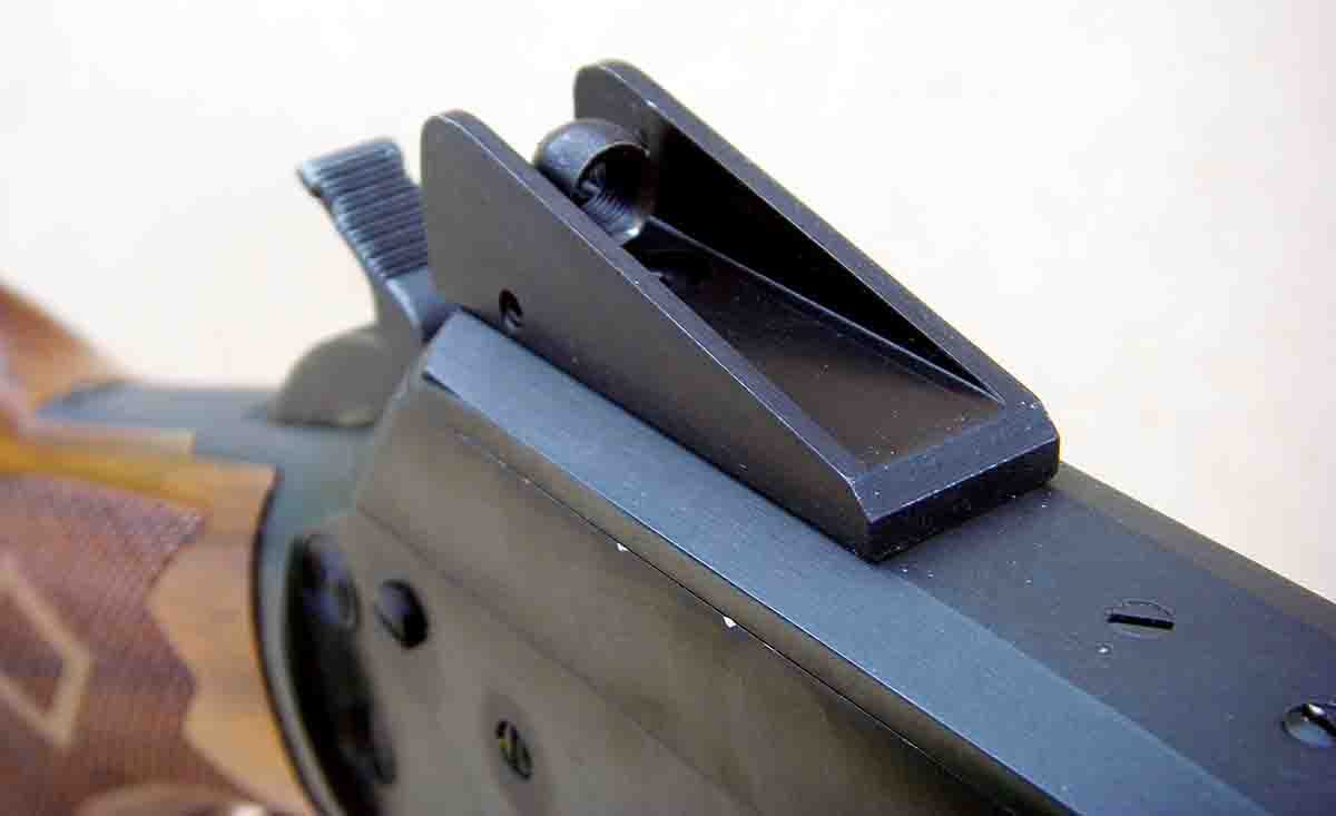 The Skinner Winged sight features wings to protect the sight and is adjustable for windage and elevation.
