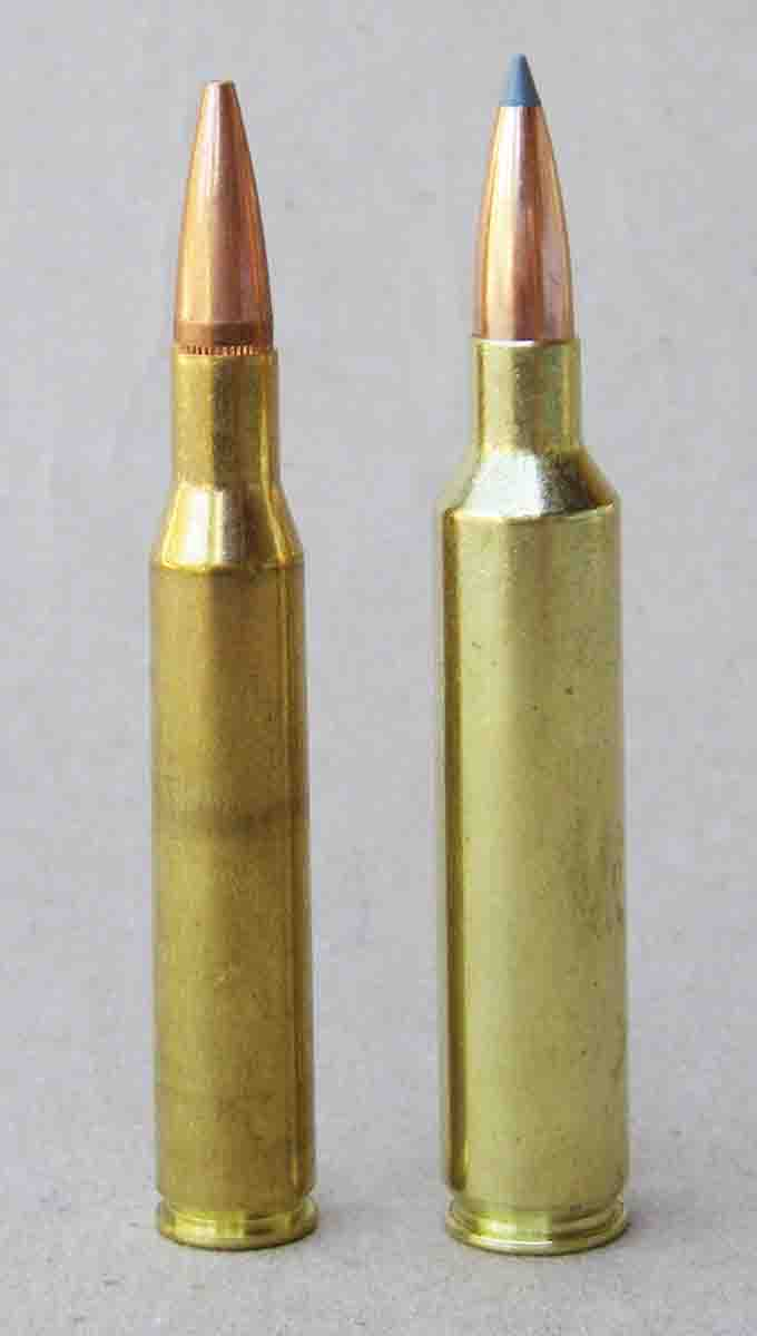 The .270 Winchester (left) dates back to 1923 and remains the most popular cartridge for .277-inch bullets. The .27 Nosler (right) is the fastest, most powerful, regular production cartridge in this caliber.